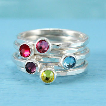 Mothers ring sterling silver birthstone ring with Swarovski faceted crystal stacking ring birthday gift for bridesmaid mom mommy jewelry