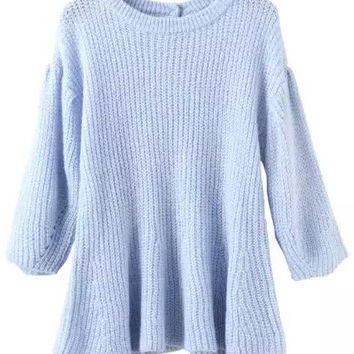 Blue Puff Sleeve Cut-Out Sweater