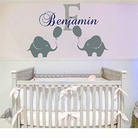 Wall Decals Personalized Name Decal Vinyl Sticker Elephant Balloon Boy Baby Children Nursery Bedroom Decor Home Playroom Art Murals Ah76