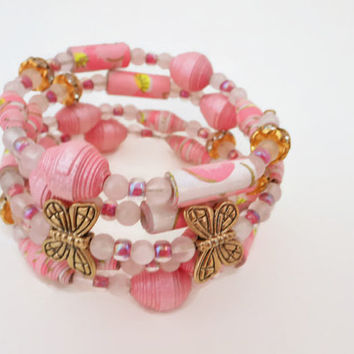 Pink, White Gold Paper Bead Memory Wire Bracelet, Paper Bead Bracelet, Quartz Bracelet, Beaded Bracelet, Paper Beads, Butterfly Bracelet,