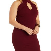 Plus Size Oxblood Mock Neck Bodycon Dress by Charlotte Russe