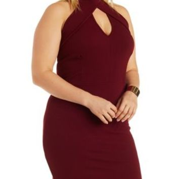 Plus Size Oxblood Mock Neck Bodycon Dress From Charlotte Russe