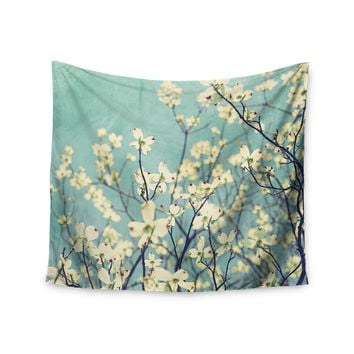 "Ann Barnes ""Pure"" Teal Floral Wall Tapestry"
