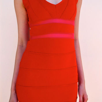 SHIELD RED BODYCON DRESS