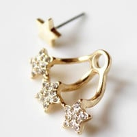 Gold Star Drop Back Earrings