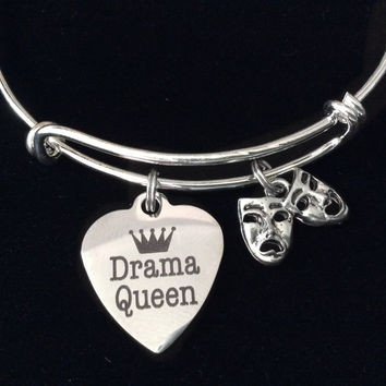 Drama Queen Comedy Tragedy Mask Silver Expandable Charm Bracelet Adjustable Bangle