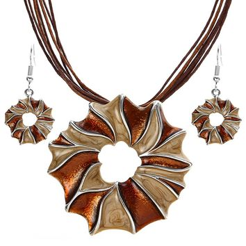 Oil Drip Sunflower Pendant Necklace Earrings For Women Girl Party Jewelry Sets