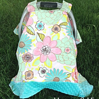 Infant Girl's Floral & Turquoise Minky Carseat Cover