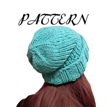 Slouchy Hat Knitting Pattern - Knit Hat Pattern - Slouchy Hat Pattern - Instand PDF Download - Aqua - Teal