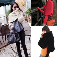 Women Knitting Crochet Scarf wool Warmer With Sleeve Long Shawl Scarves Wrap B20 D_L (Color: Red) = 1713190788