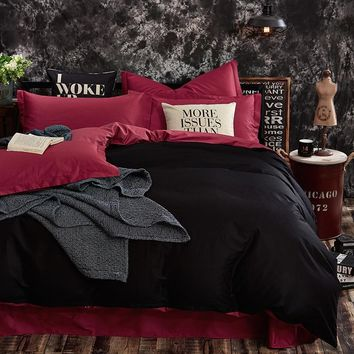 Cool Classical solid colors bed linen black and burgundy red matched reversible duvet cover sets cotton bedding set single queen kingAT_93_12