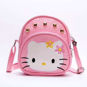 Baby girls hello Kitty pink 2018 handBags Kids cat bag crocodile Rivet kids girl Handbags PU Kids Crossbody Messenger Bags