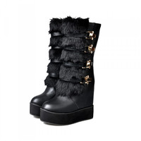 New Arrival Winter Shoes Women Fashion Warm Hidden High Heels Creeper Round Toe Mid Calf Boots Fur Buckle Punk Gothic Alternative Measures