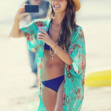 Sexy Womens Beachwear Chiffon Cardigan Bikini Swimming Cover Up Shirt Dress Drop Shipping