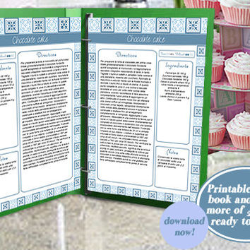 Printable recipe binder book organizer for instant download, blue A4 more than 20 pages, to customize for your personal recipes