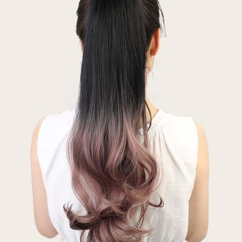 Natural Ombre Long Curly Ponytail Hair