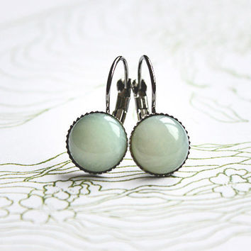 Green Fairy // cabochon earrings anthrazite, mint - minimalist earrings for girls, women - everyday jewelry