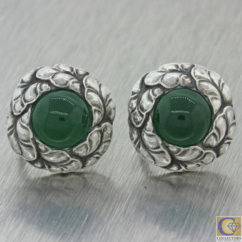 Vintage Georg Jensen Sterling Silver #74 Green Chrysoprase Clipon Screw Earrings