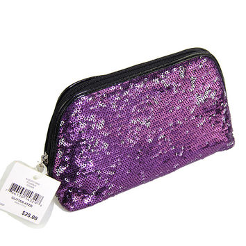 Nine West Glitter Atzzi Cosmetic Bag, Brand Clutch Color:  Purple,