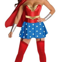 The game uniform Female superman costume wonder woman role play Halloween party party dress (Size: M) = 1932597124