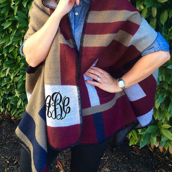 Monogrammed Burgundy Color Block Blanket Scarf Wrap  Font Shown MASTER CIRCLE in Black