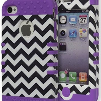 Hybrid Zebra Print  Case+ Neon Purple Silicone Cover  iPhone 4, 4s