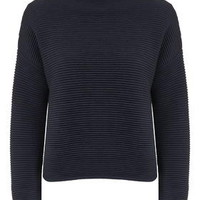 Horizontal Rib Jumper - Navy Blue
