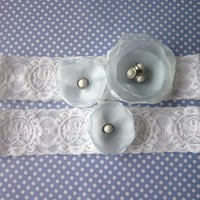 Bridal Garter Set (including Toss Garter) - White & LIght Blue