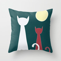 Cats Night Throw Pillow by ProArte