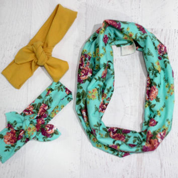 ADULT infinity scarf, woman's scarf, infinity scarf, spring scarf, scarf, flower scarves, turquoise scarf