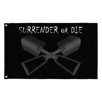 Surrender or Die Cross E-Tool Black Flag