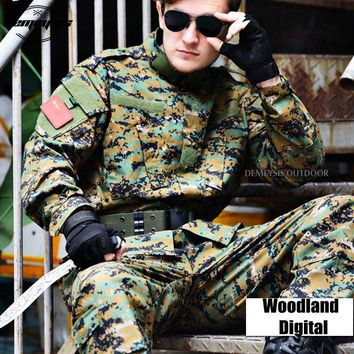 Woodland Digital Tactical Military Uniform Clothing Army Combat Uniform Tactical Jacket + Cargo Pants Camouflage Hunting Clothes