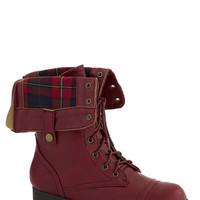 Just Trekkin' In Boot in Burgundy | Mod Retro Vintage Boots | ModCloth.com