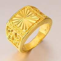 Male Contracted Pattern Men 24 K Gold Ring