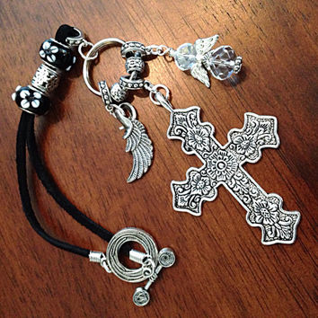 Rearview Mirror Charm, Keychain, Christian Keychain, Cross Car Charm with Angel Wings, Car Charm for all Automobiles