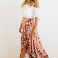 Spell || Sunset Road wrap skirt in peach