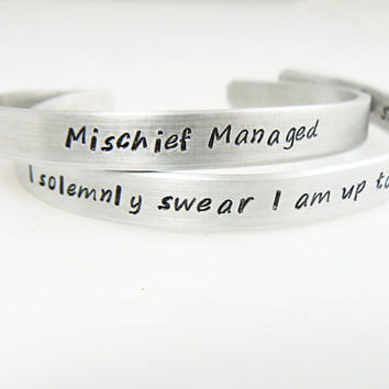 Mischief Managed, Harry Potter Bracelet, Personalized Jewelry, Bulk Discounts, Hand Stamped Cuff