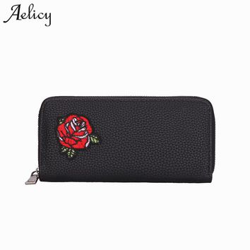 Aelicy 2018 Travel Embroid Floral Rose Wallet Multifunction Credit Card Package ID Holder Storage Organizer Clutch Money Bag