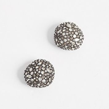 Crystal Encrusted Button Earrings