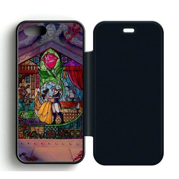 Beauty and The Beast Art Leather Wallet Flip Case iPhone 5 | 5S