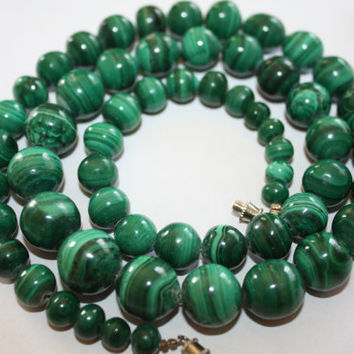Vintage Green Malachite Necklace Gemstone Bead Chunky 1950s Jewelry
