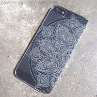 "Clear Plastic Case Cover for iPhone 6 (4.7"") Black Henna Lotus Mandala tribal rose tribal ethnic american indian"
