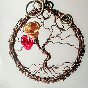 Vintage Bronze Tree of Life Pendant, Wire wrapped Tree of life, Tree of life Necklace, Roses Tree of life, Gift for Her