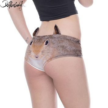 Deruilady New Design 3D Printing Panties Women Cartoon Animals Pig Cat With Ears Briefs Low Rise Milk Silk Fashion Women Panties