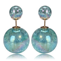 Mise en Gum Tee Style Tribal Earrings  - Galaxy Aquamarine