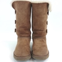 UGG Womens Sheepskin Bailey Button Triplet Lined Boot - Chestnut US Size 7