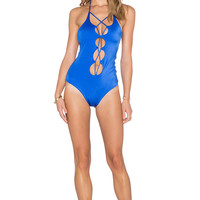 Caffe Cut Out Halter Swimsuit in Bright Blue
