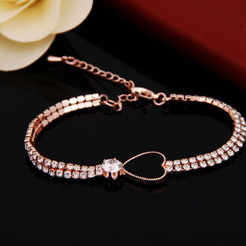 New Arrival 2016 Luxury Crystal Heart Shape Charm Bracelet Bangle for Women Fine Jewelry