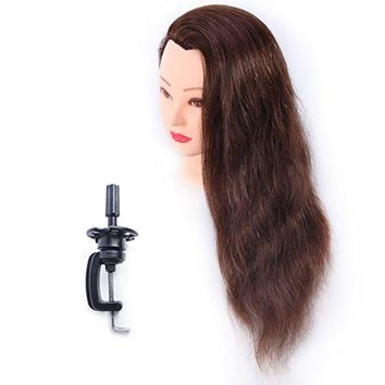 """Mannequin Head 100% Human Hair 24"""" Hairdresser Training Head Manikin Cosmetology Doll Head (Table Clamp Stand Included) HA0418P"""