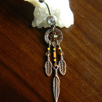 Copper dream Catcher belly Ring with White Grey Diamond Nugget in The Native Inspired Tribal Style